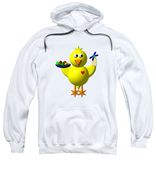 Cute Canary With Salad And Milk Sweatshirt by Rose Santuci-Sofranko