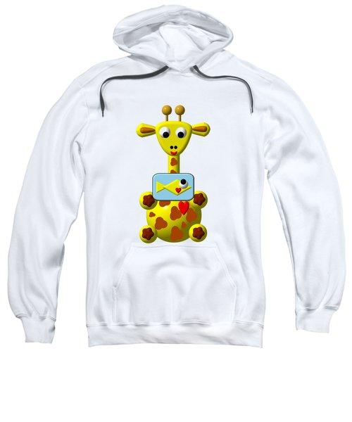 Cute Giraffe With Goldfish Sweatshirt by Rose Santuci-Sofranko