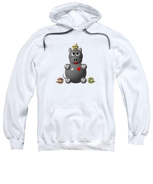 Cute Hippo With Hamsters Sweatshirt