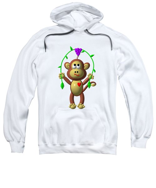 Cute Monkey Jumping Rope Sweatshirt by Rose Santuci-Sofranko