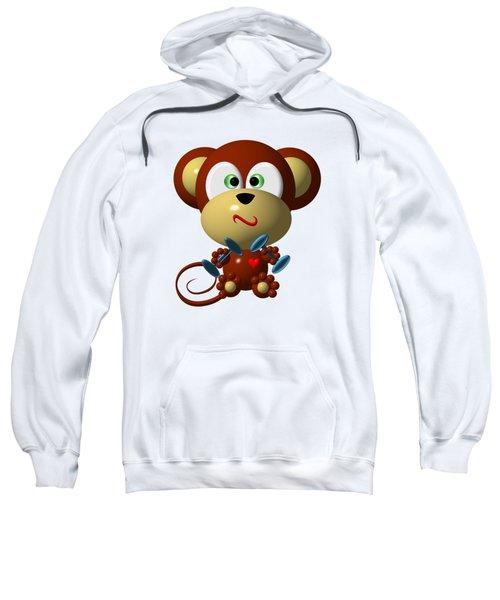 Cute Monkey Lifting Weights Sweatshirt