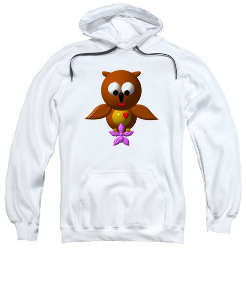 Cute Owl With Orchid Sweatshirt