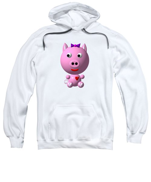 Cute Pink Pig With Purple Bow Sweatshirt
