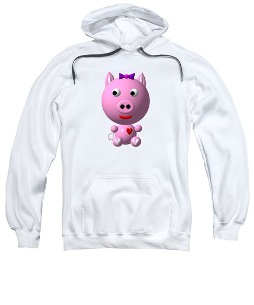 Cute Pink Pig With Purple Bow Sweatshirt