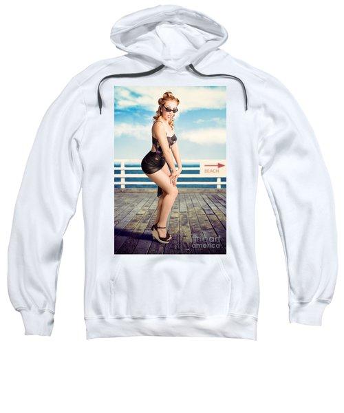Cute Pinup Girl Looking Surprised On Beach Pier Sweatshirt