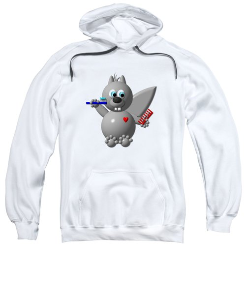Cute Squirrel Brushing It's Hair And Teeth Sweatshirt