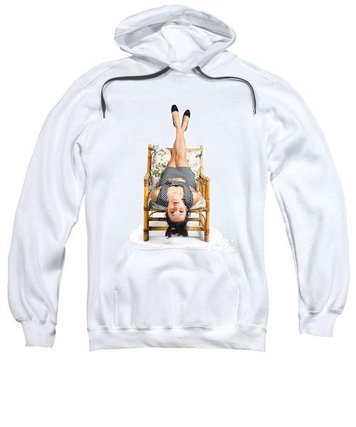 Cute Young Woman Sitting Upside Down On Chair Sweatshirt