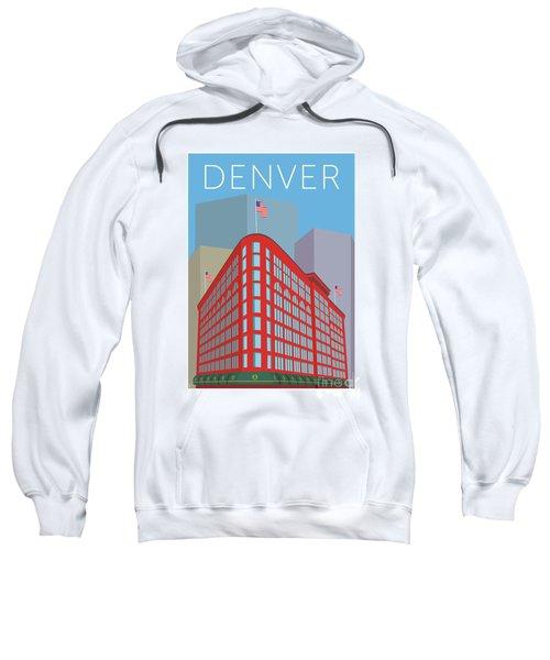 Sweatshirt featuring the digital art Denver Brown Palace/blue by Sam Brennan
