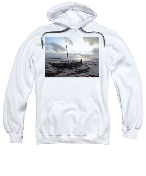 Dhow Wooden Boats At Sunrise With Fisherman Sweatshirt