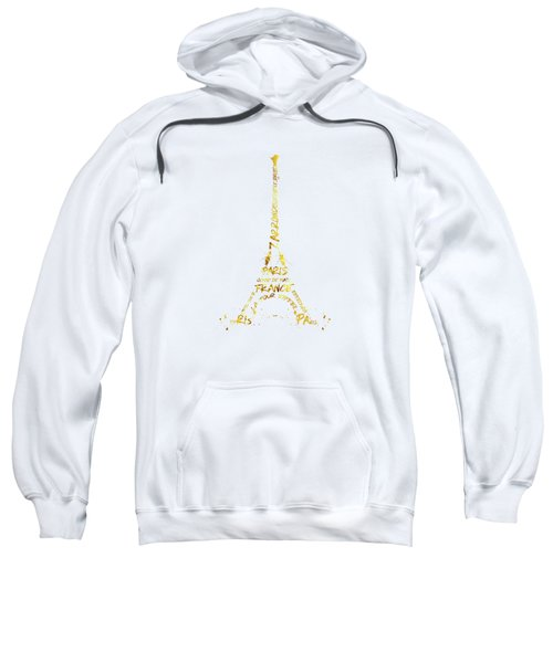 Digital-art Eiffel Tower - White And Golden Sweatshirt by Melanie Viola