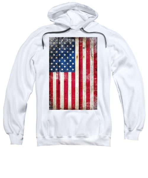Distressed American Flag On Wood - Vertical Sweatshirt