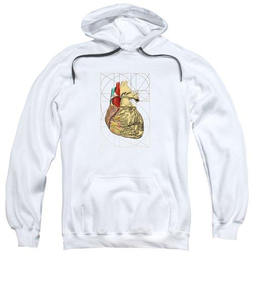 Dualities - Half-gold Human Heart On Black And White Canvas Sweatshirt