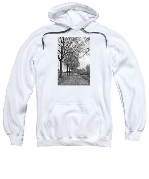 Dutch Road In Winter Black And White Sweatshirt