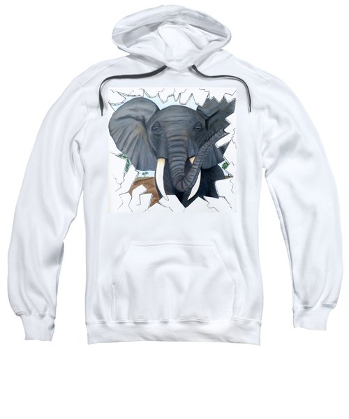 Eavesdropping Elephant Sweatshirt by Teresa Wing