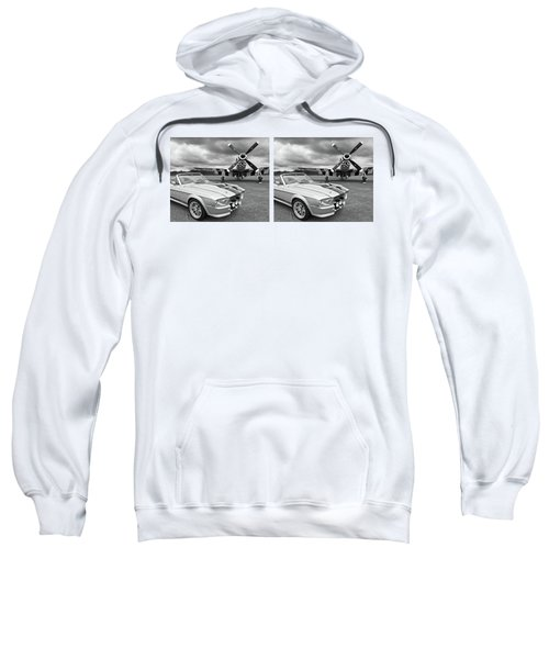 Eleanor Mustang With P51 Black And White Sweatshirt by Gill Billington