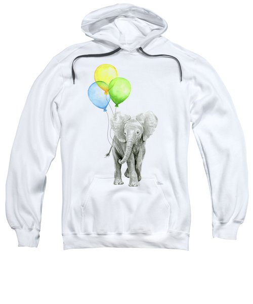 Elephant Watercolor Baby Animal Nursery Art Sweatshirt