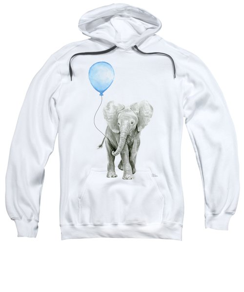 Elephant Watercolor Blue Nursery Art Sweatshirt