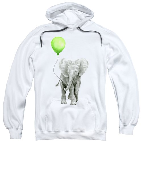 Elephant Watercolor Green Balloon Kids Room Art  Sweatshirt
