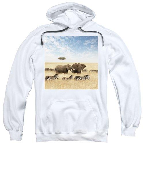 Elephants And Zebras In The Grasslands Of The Masai Mara Sweatshirt