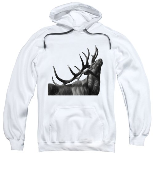 Elk In Black In White  Sweatshirt