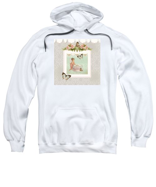 Fairy Teacups - Flutterbye Butterflies And English Rose Damask Sweatshirt by Audrey Jeanne Roberts
