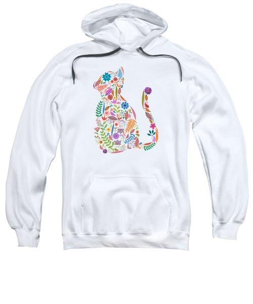 Fancy And Fine Flowered Cat Garden Design Sweatshirt