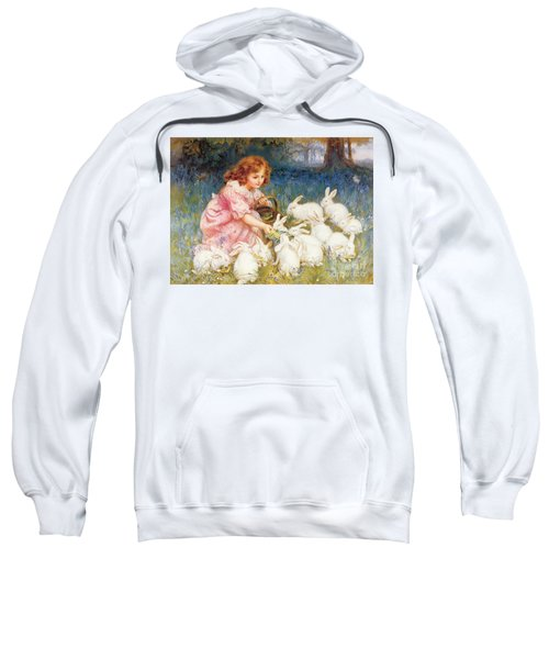 Feeding The Rabbits Sweatshirt by Frederick Morgan