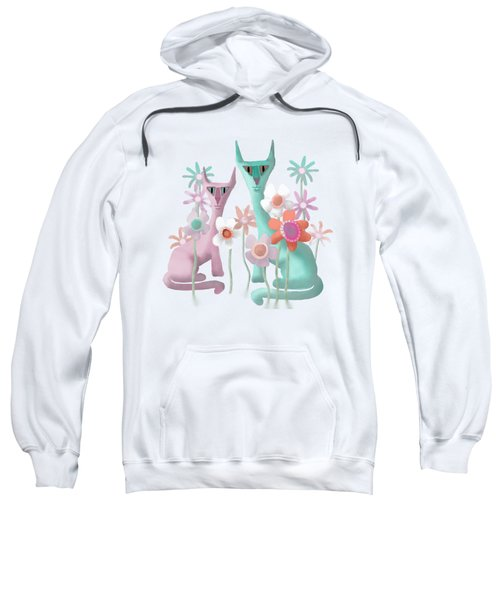 Felines In Flowers Sweatshirt