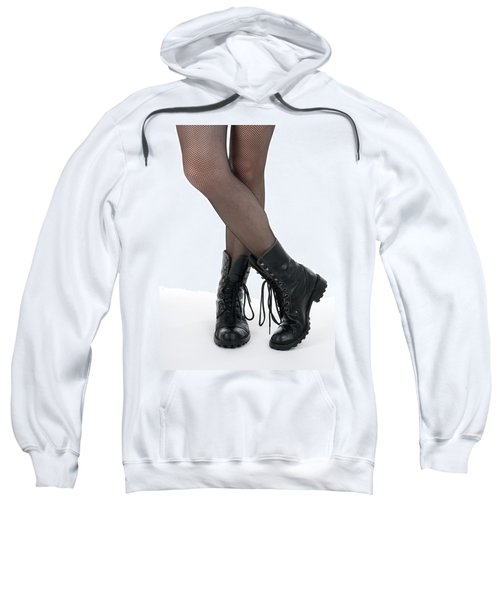 Female Legs In Pantyhose And Black Boots Sweatshirt