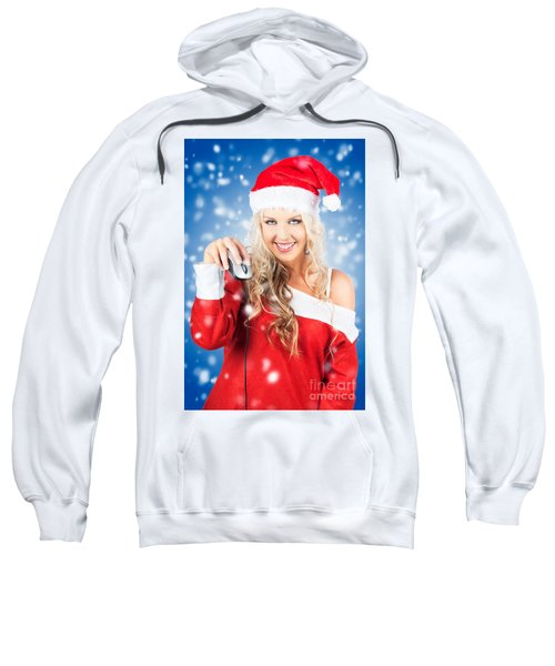 Female Santa Claus Christmas Shopping Online Sweatshirt