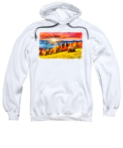 Field Of Autumn Haze Painting Sweatshirt