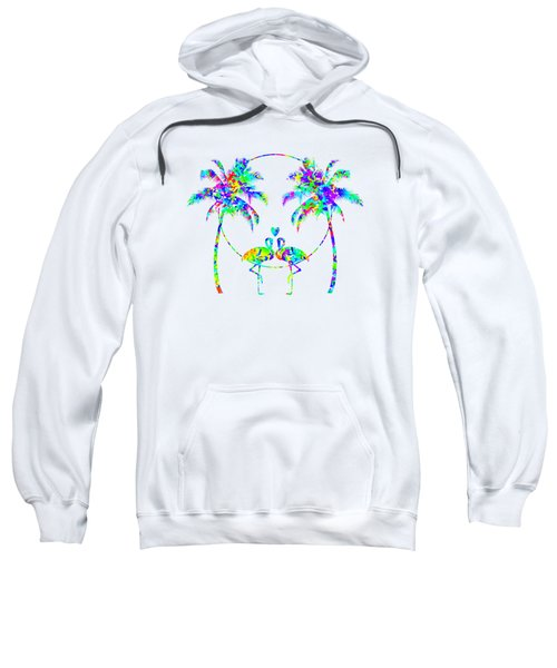 Flamingos In Love - Splatter Art Sweatshirt by SharaLee Art