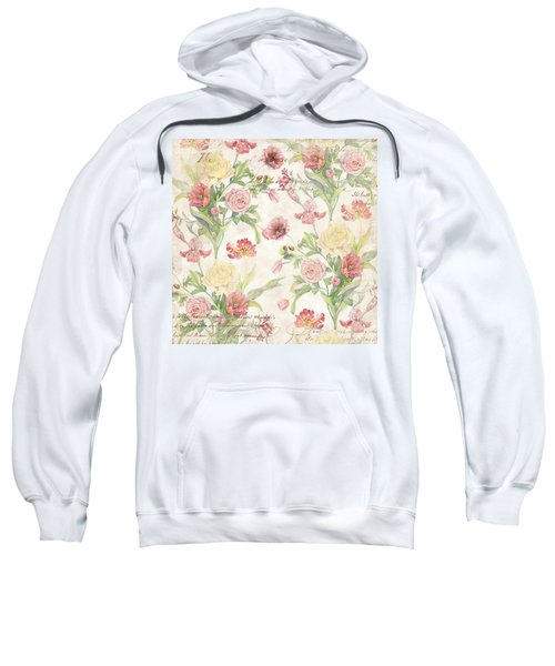 Fleurs De Pivoine - Watercolor In A French Vintage Wallpaper Style Sweatshirt