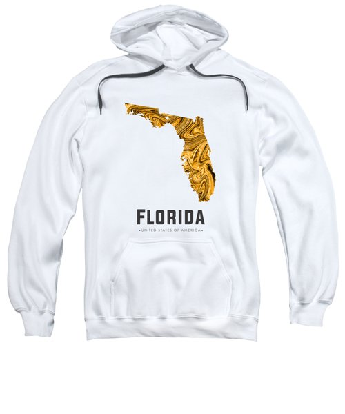 Florida Map Art Abstract In Yellow Gold Sweatshirt