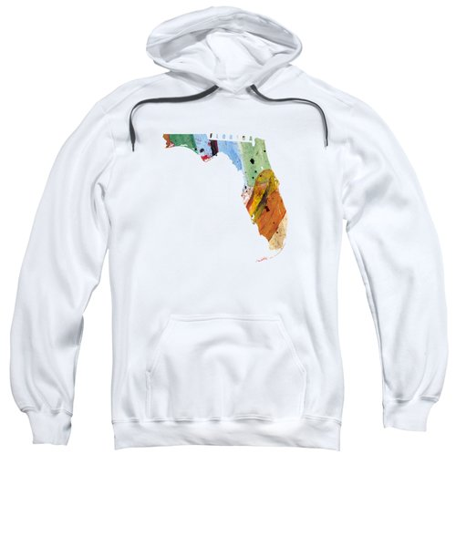 Florida Map Art - Painted Map Of Florida Sweatshirt by World Art Prints And Designs