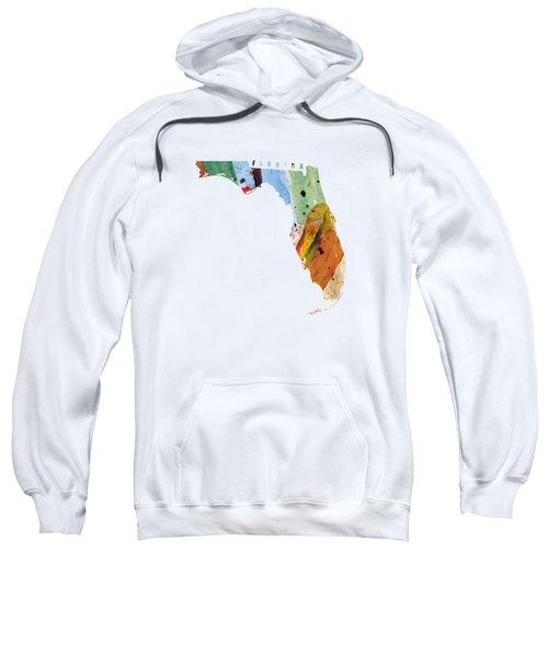 Florida Map Art - Painted Map Of Florida Sweatshirt