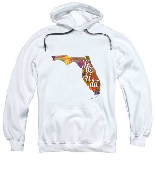 Florida Us State In Watercolor Text Cut Out Sweatshirt by Pablo Romero