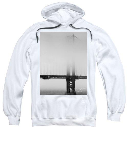 Fog At The Golden Gate Bridge 4 - Black And White Sweatshirt