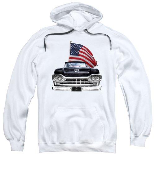 Ford F100 With U.s.flag On Black Sweatshirt