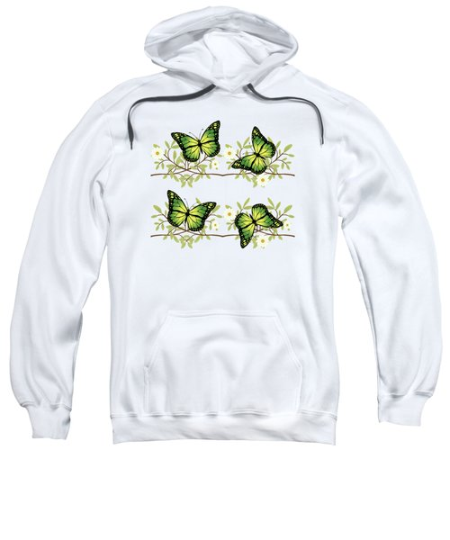Four Green Butterflies Sweatshirt by Gaspar Avila