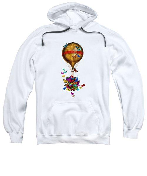 French Hot Air Balloon With Rainbow Butterflies Basket Sweatshirt
