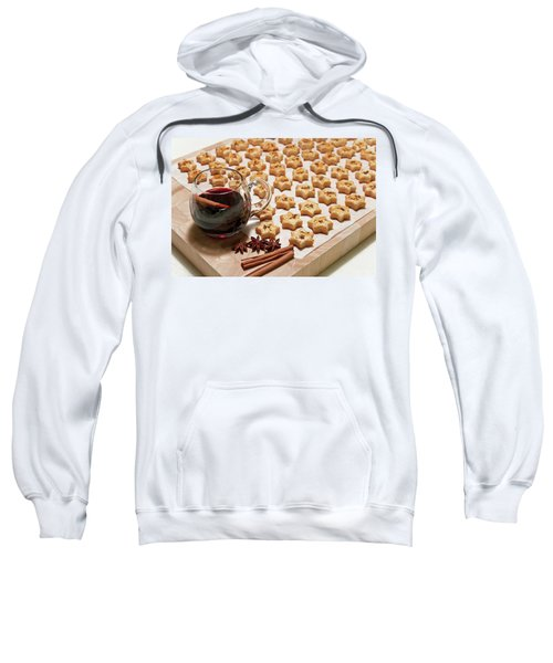 Freshly Baked Cheese Cookies And Hot Wine Sweatshirt by GoodMood Art