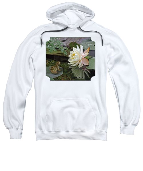 Frog In Awe Of White Water Lily Sweatshirt by Gill Billington