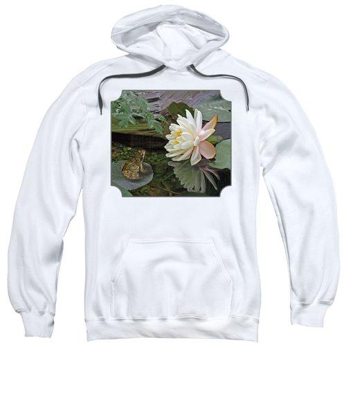 Frog In Awe Of White Water Lily Sweatshirt