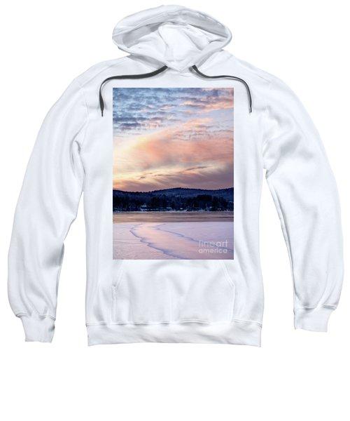 Frozen Lake Sunset In Wilton Maine  -78096-78097 Sweatshirt