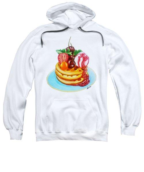Fruity Waffles Served With Ice Cream And Strawberry Sauce Sweatshirt by Sonja Taljaard