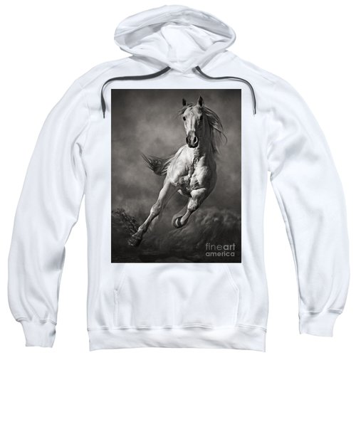 Galloping White Horse In Dust Sweatshirt