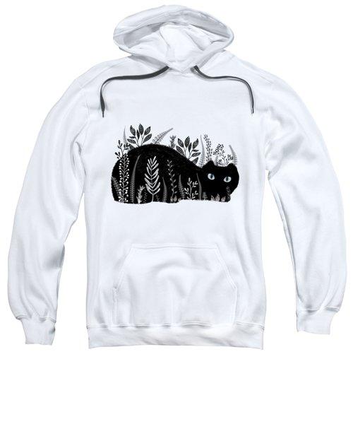 Garden Cat In Black And White Sweatshirt