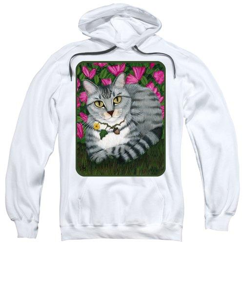 Garden Cat - Silver Tabby Cat Azaleas Sweatshirt