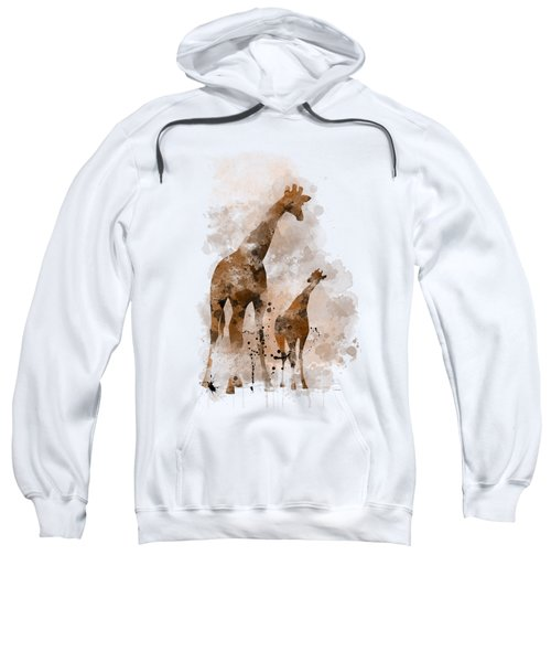Giraffe And Baby Sweatshirt by Marlene Watson